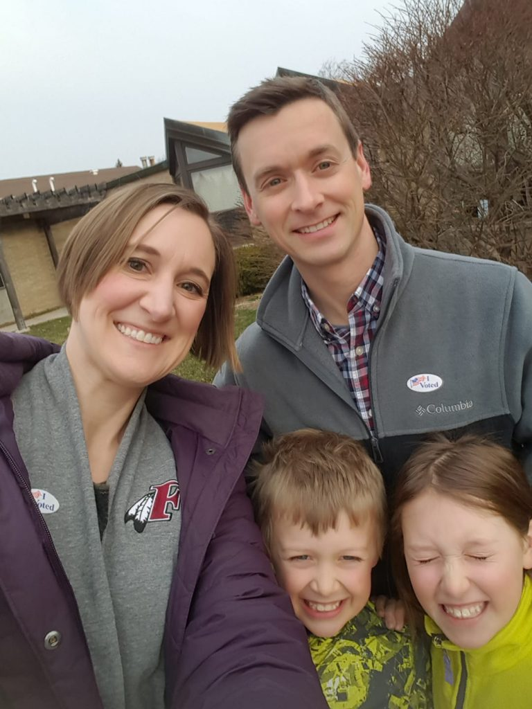 Cathy Olig and family after voting April 2019